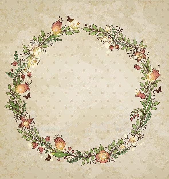 Decorative Hand Drawn Floral Frame - Flowers & Plants Nature