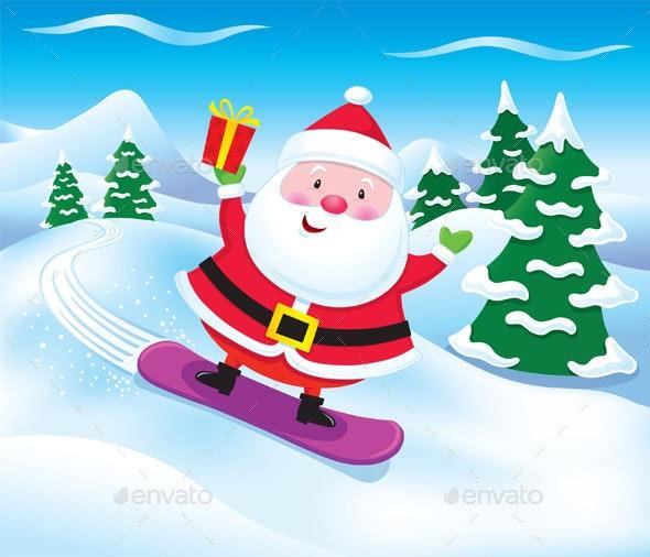 Snowboarding Santa Claus with Present - Christmas Seasons/Holidays