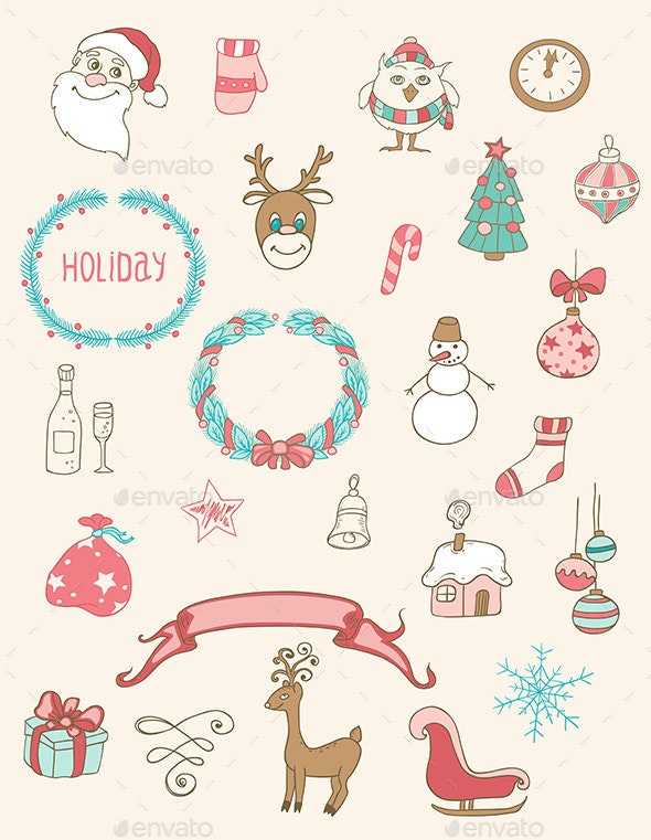 Christmas Doodle Desing Elements - Christmas Seasons/Holidays