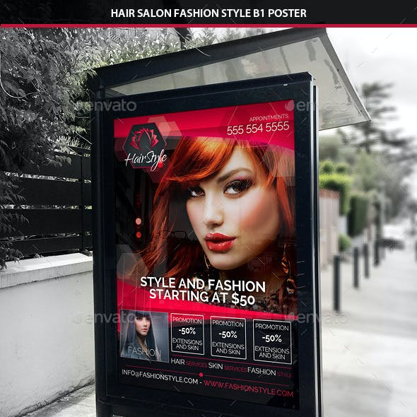 Hair Salon Fashion Style B1 Signage Poster