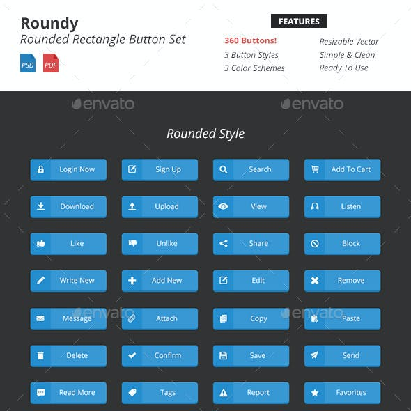 Roundy - Rounded Rectangle Button Set