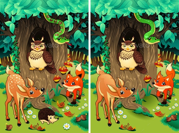 Spot the Differences.  - Animals Characters