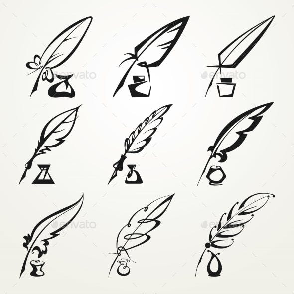 Collection Feather Pens and Ink