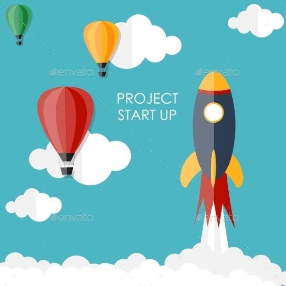 Quick Start Up Flat Concept - Web Technology