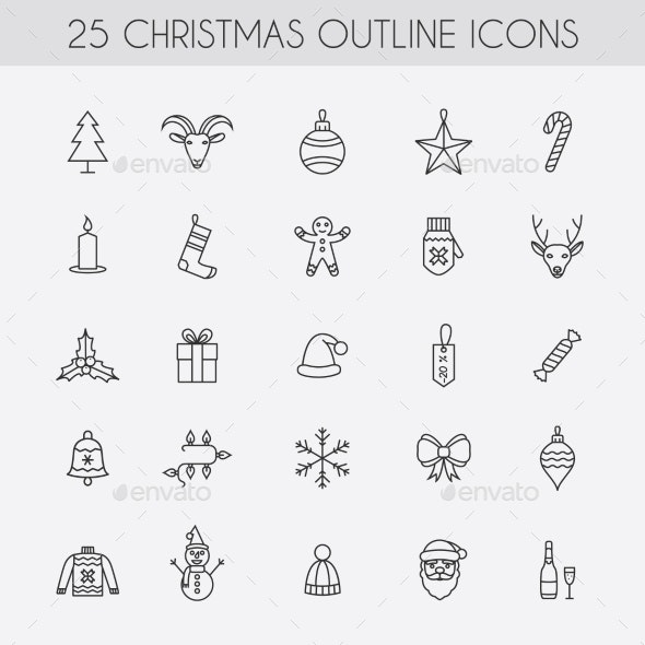 Holiday New Year Icons. - Christmas Seasons/Holidays