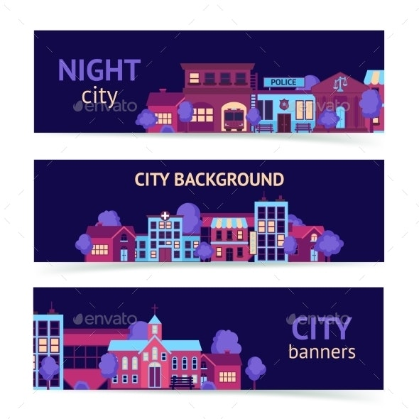 City Banner Horizontal - Buildings Objects
