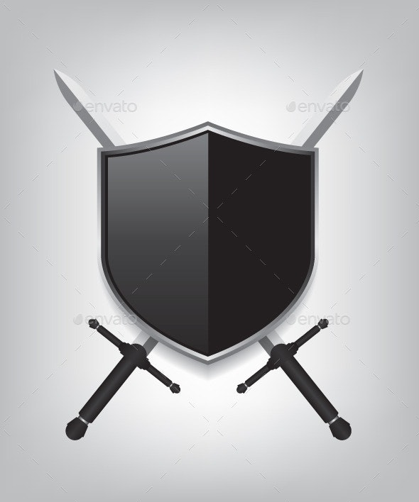 Swords and Black Shield - Objects Vectors