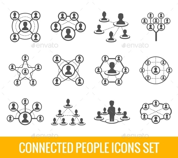 Connected People Black Icons Set - Web Technology