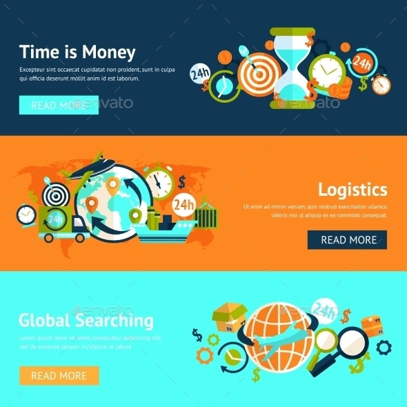 Logistic Banner Set - Business Conceptual