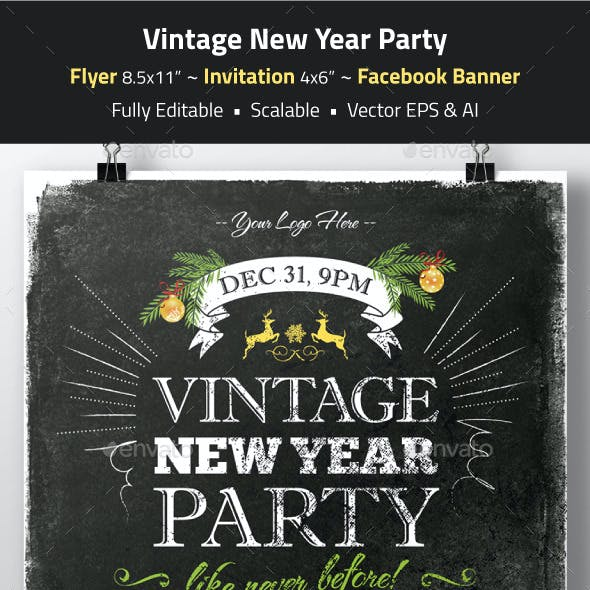 Vintage New Year Party Flyer, Invitation, Banner