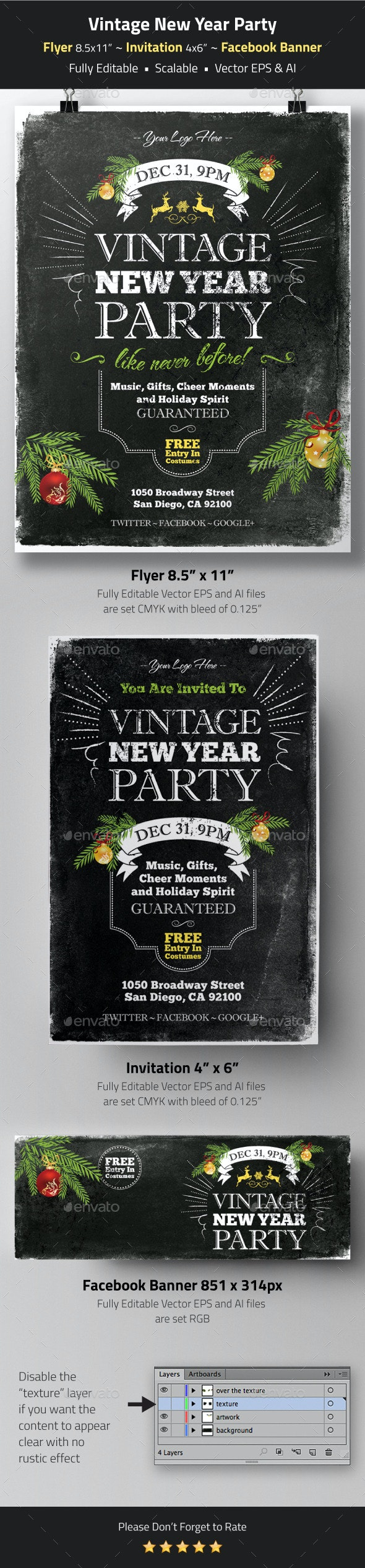 Vintage New Year Party Flyer, Invitation, Banner - Holidays Events