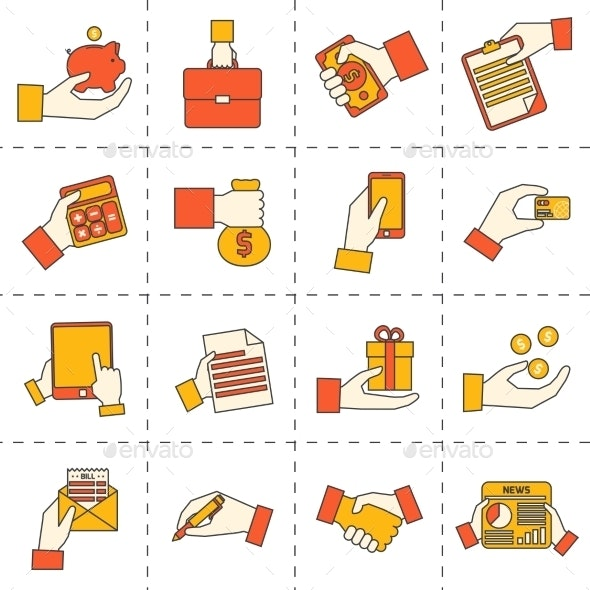 Business Hands Financial Icons - Business Conceptual