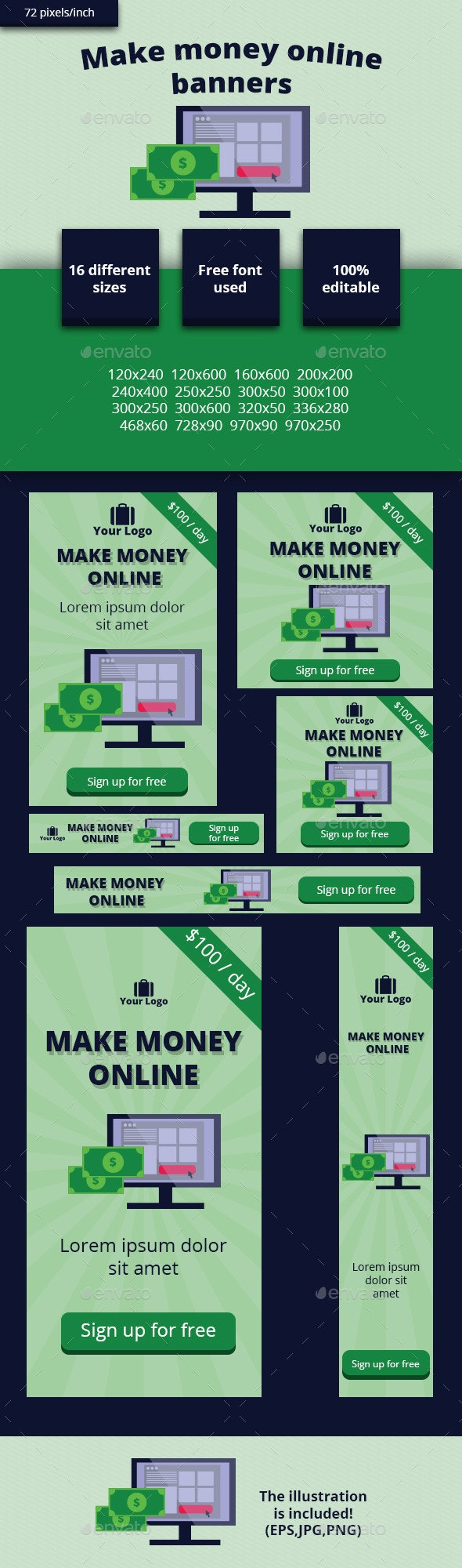 Make money online banners - Banners & Ads Web Elements