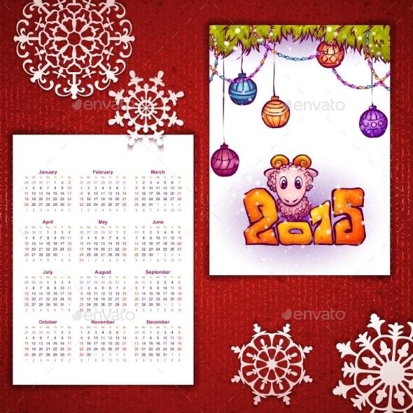 Vector Christmas Calendar with Sheep and 2015 - Christmas Seasons/Holidays