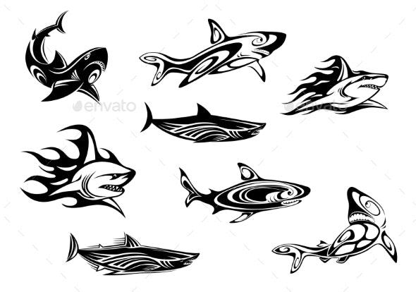Fierce Shark Tattoo Icons - Animals Characters