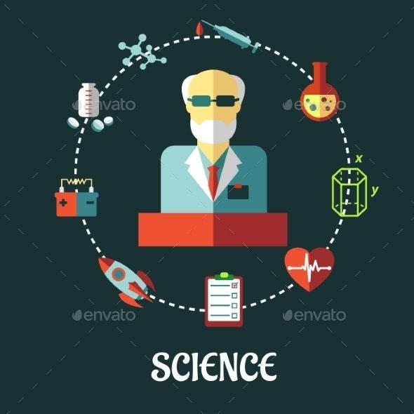 Different Sciences Flat Concept - Health/Medicine Conceptual