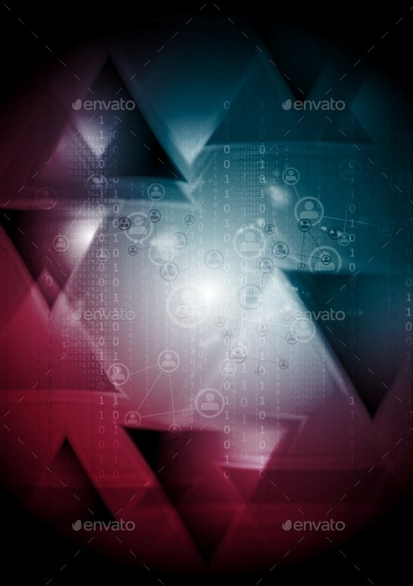 Tech Background with Triangles - Backgrounds Decorative