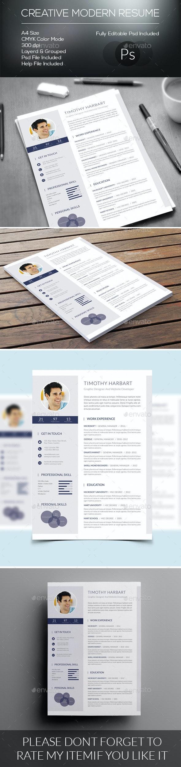 Creative Modern Resume - Resumes Stationery