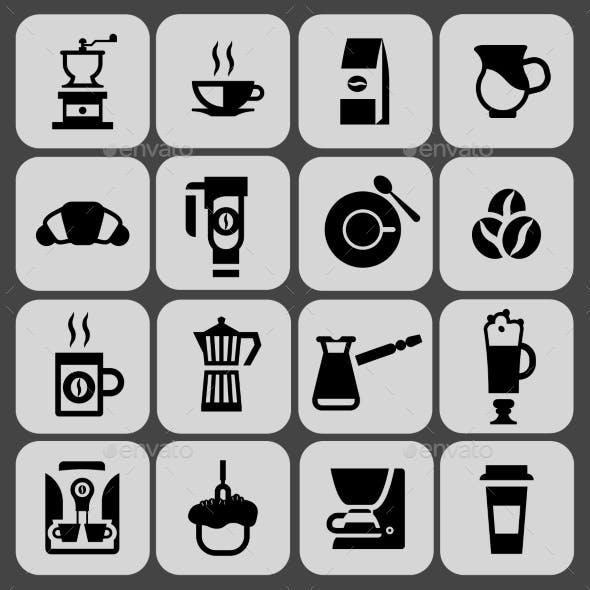 Coffee Icons Black Set
