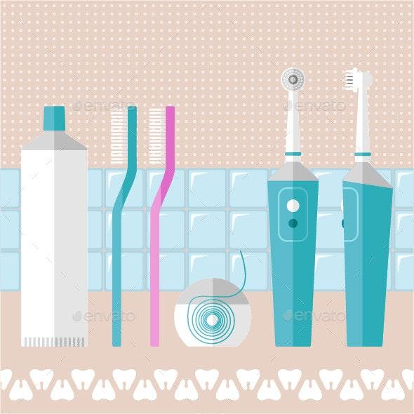 Set of Teeth Care Icons - Health/Medicine Conceptual