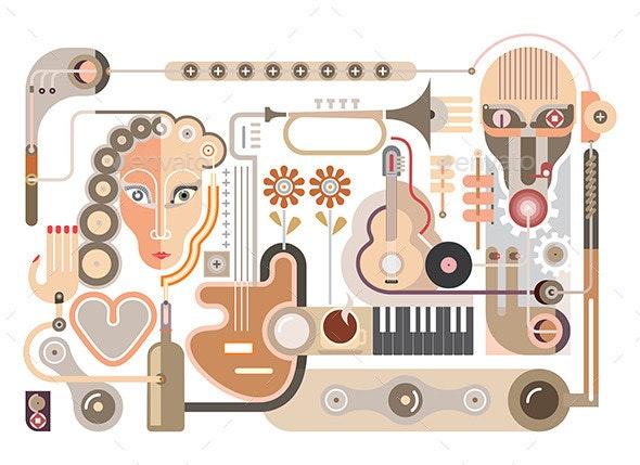 Recording Studio Vector Illustration - People Characters