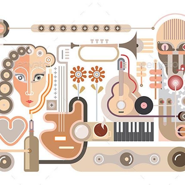 Recording Studio Vector Illustration