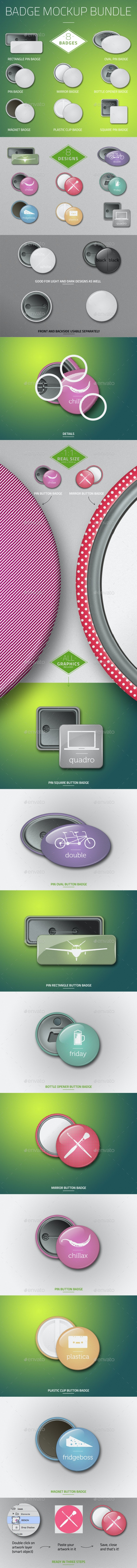Button Badge Mockup Bundle - Product Mock-Ups Graphics