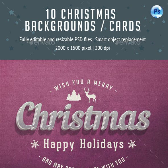10 Christmas Cards / Backgrounds