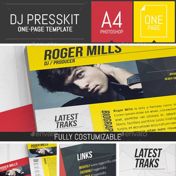 Dj / Musician OnePage Press Kit / Resume Template