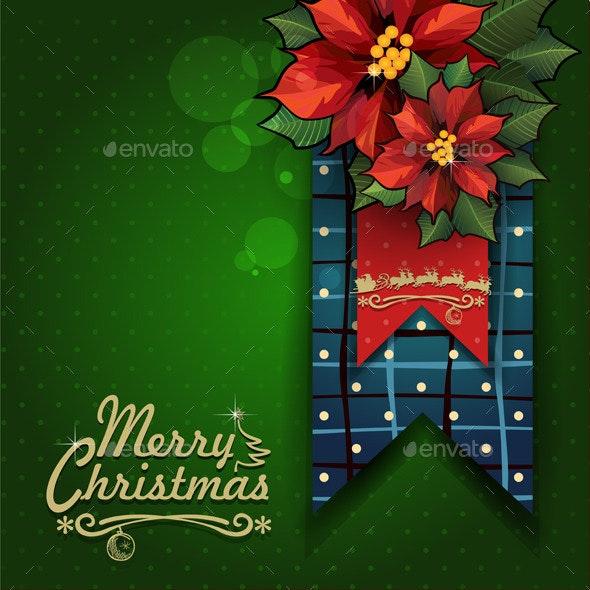 Merry Christmas Label with Star Flowers - Christmas Seasons/Holidays