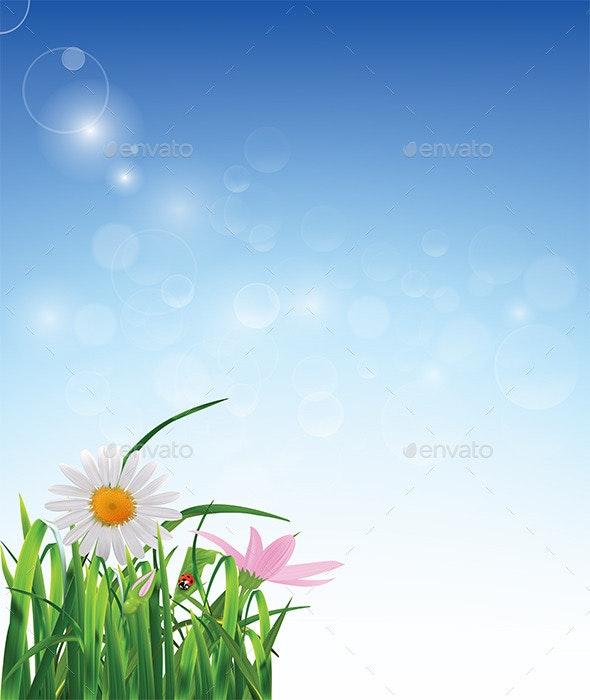 Flowers on Blue Background - Backgrounds Decorative