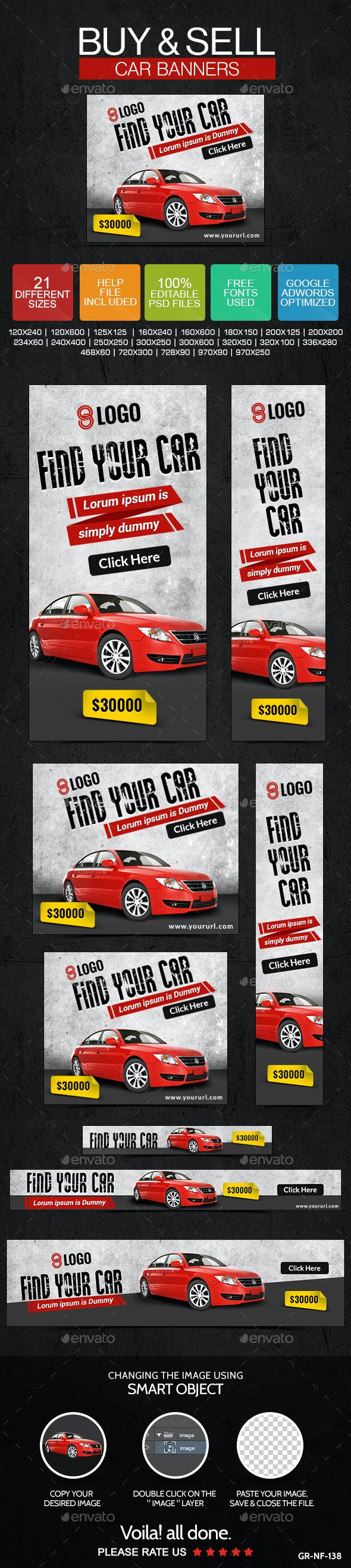 Buy & Sell Cars Banners - Banners & Ads Web Elements