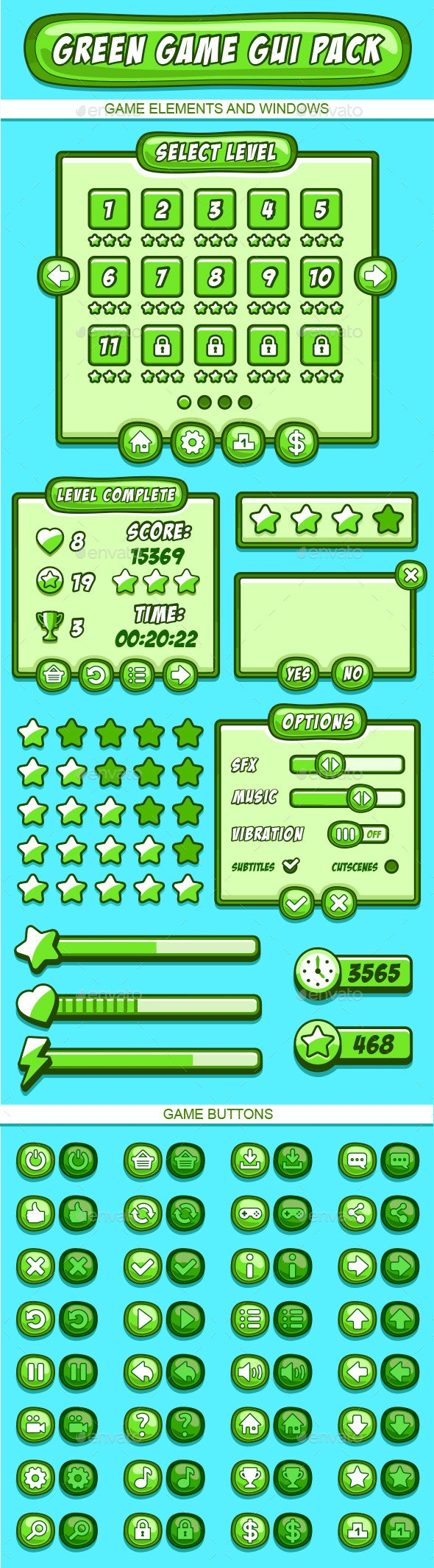 Green GUI Pack for Games - User Interfaces Game Assets