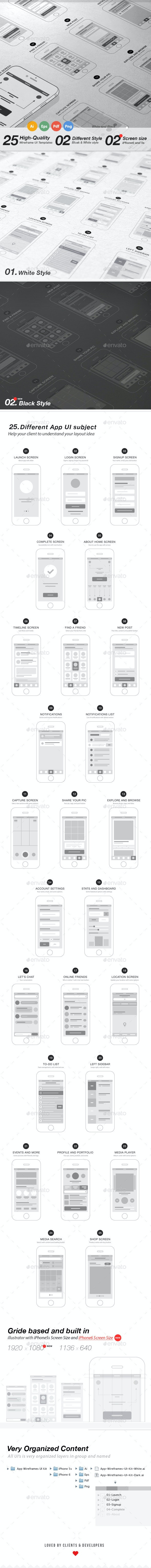 App Wireframes UI Kit - User Interfaces Web Elements
