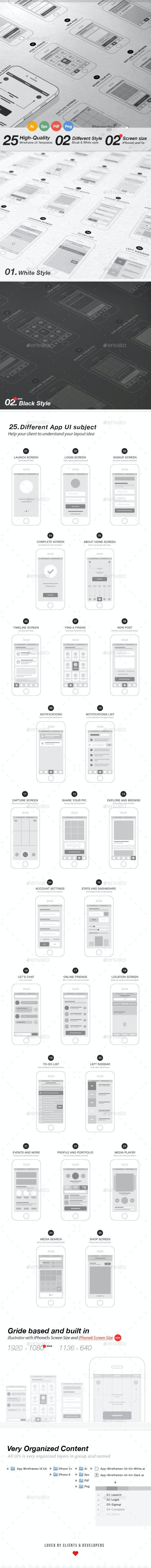 App Wireframes UI Kit - User Interfaces Web Elements