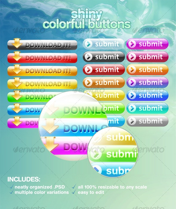 Shiny Multipurpose Buttons - Buttons Web Elements