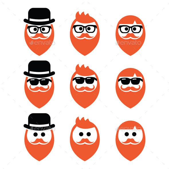 Man with Beard and Moustache Icons