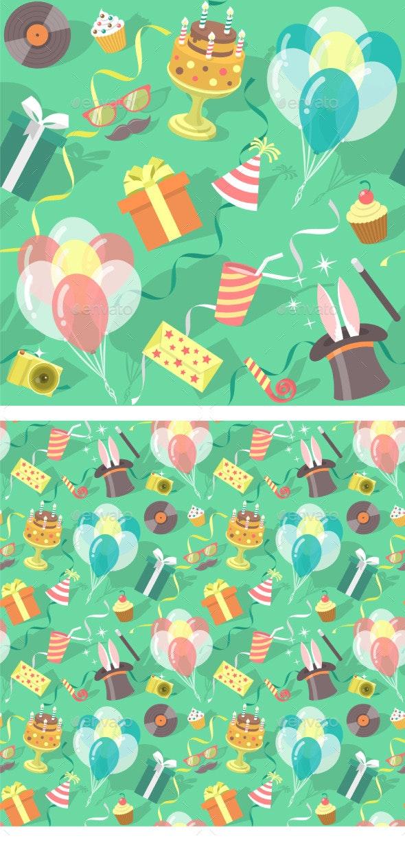 Birthday Party Celebration Seamless Pattern - Patterns Decorative