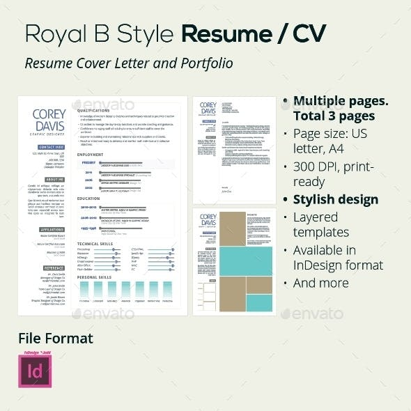 Royal B Style Resume / CV, 3 pages