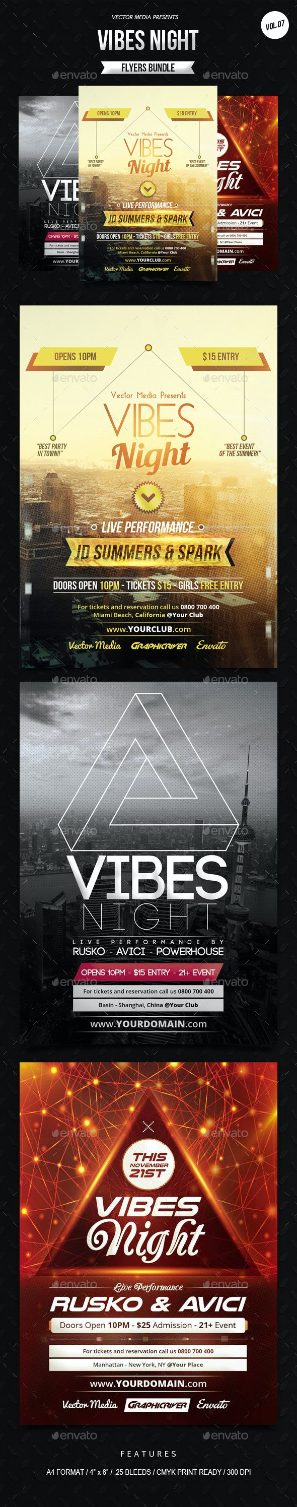 Vibes Night - Flyers Bundle [Vol.7] - Clubs & Parties Events