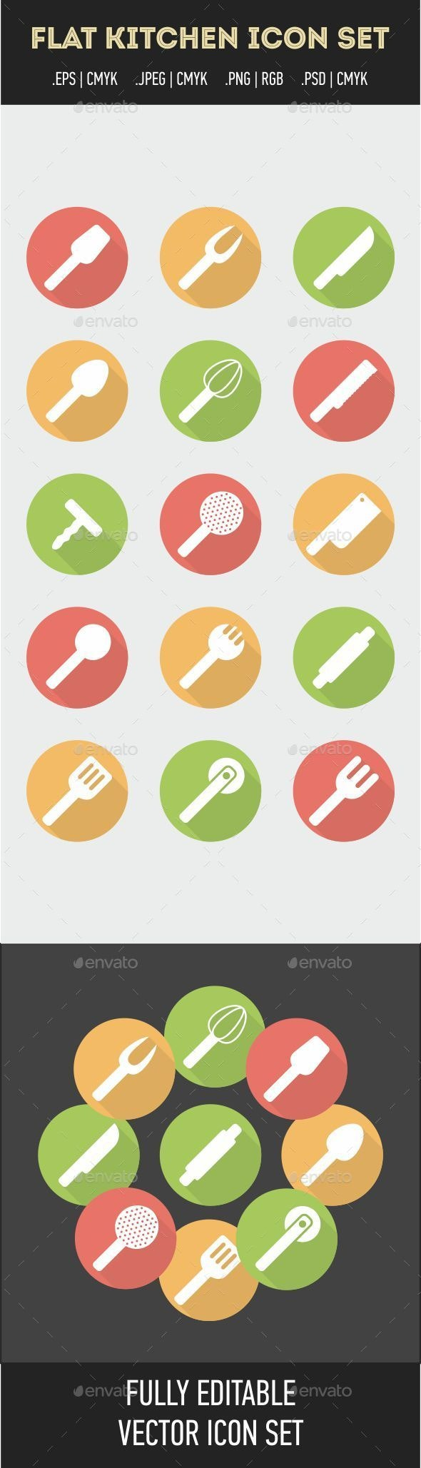 Flat Kitchen Icon Set - Food Objects