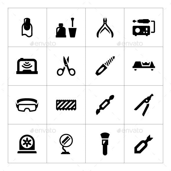 Set Icons of Manicure