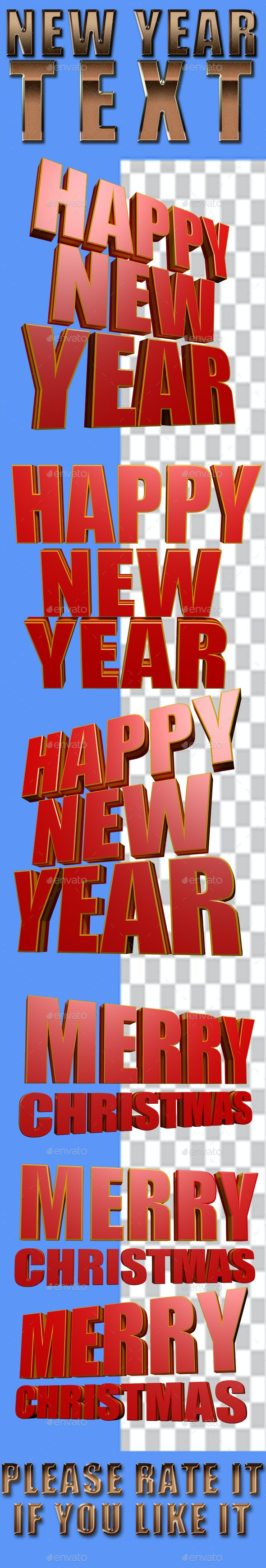 New Year Text - Text 3D Renders