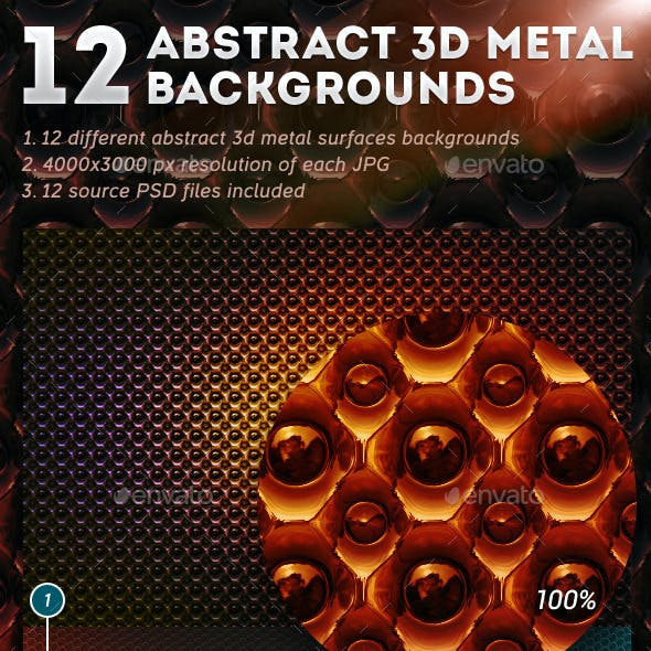 12 Abstract 3D Metal Backgrounds