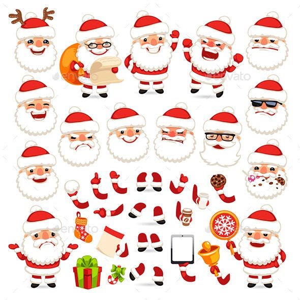 Set of Cartoon Santa Claus