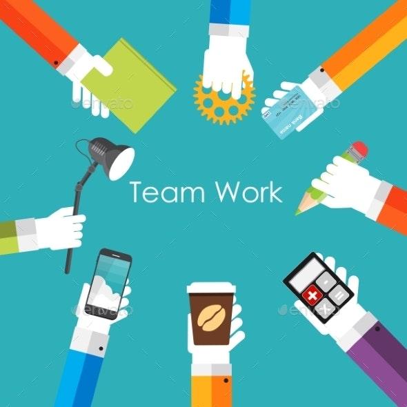 Team Work Flat Concept Vector Illustration - Web Technology