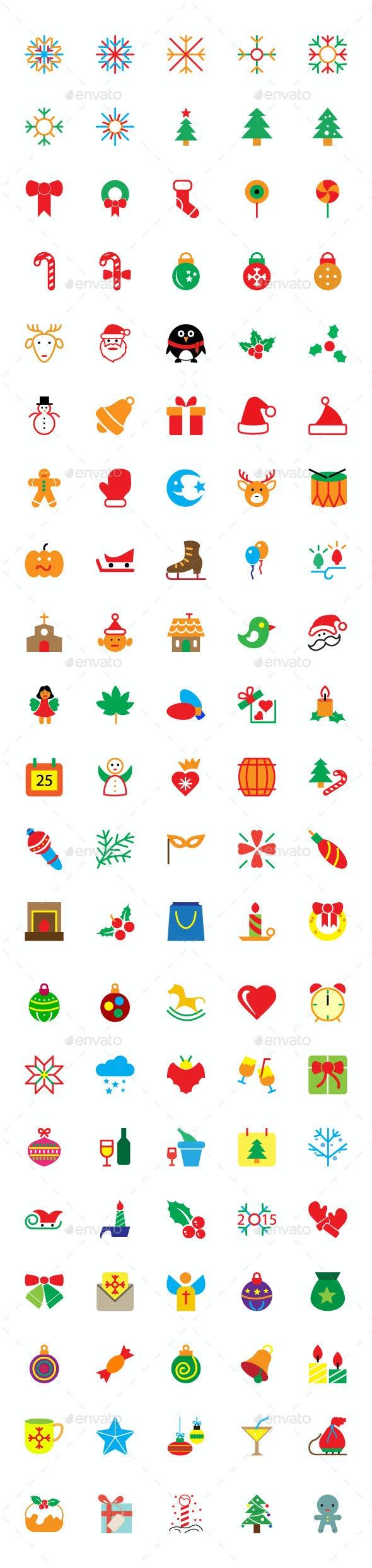 100+ Colored Merry Christmas Vector Icons - Seasonal Icons
