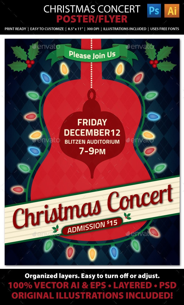 Christmas Concert / Music Event Flyer or Poster - Holidays Events