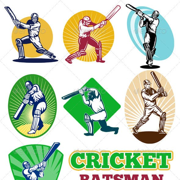 Cricket Player Batsman Batting Retro Style Set