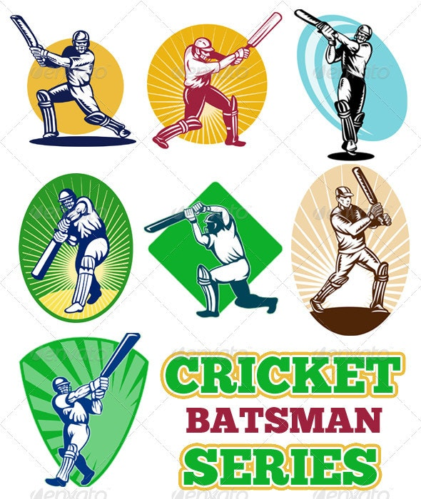 Cricket Player Batsman Batting Retro Style Set - Sports/Activity Conceptual